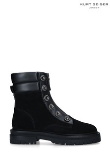 Kurt Geiger London Black Bobby Suede Biker Boots
