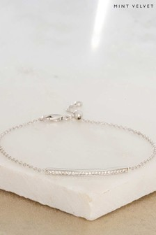 Mint Velvet Rhodium Plated Bar Bracelet