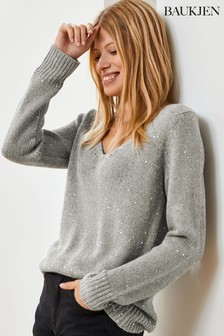 Baukjen Metallic Emelina V-Neck Sequin Knit Jumper