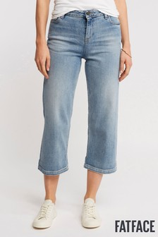 FatFace Blue Pale Vintage Wide Leg Cropped Jean