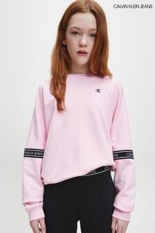 Calvin Klein Pink Logo Tape Sweatshirt