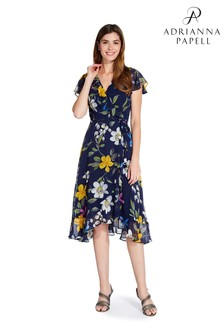 Adrianna Papell Blue Floral Chiffon Faux Wrap Dress
