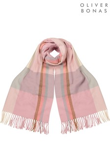 Oliver Bonas Check Soft Pink Heavyweight Scarf
