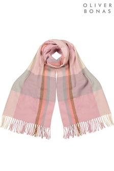 Różowy miękki gruby szalik w kratę Oliver Bonas