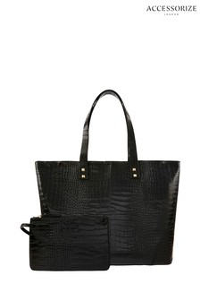Accessorize Black Croc Tote Bag