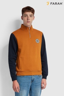 Farah Brown Boundary 1/4 Zip Sweat Top