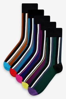 Vertical Stripe Socks Five Pack