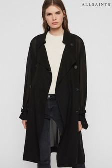 AllSaints Black Lightweight Bria Trench Coat