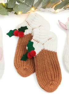 Knitted Christmas Pudding Socks