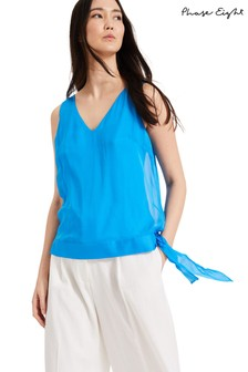 Phase Eight Blue Eilian Silk Blouse