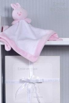 Emile et Rose Pink & White Velour Bunny Comforter
