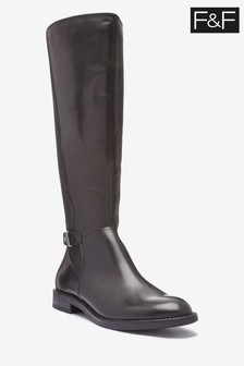 F&F Black Leather Riding Boots