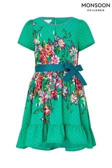 Monsoon Children Green Brielle Curved Dress
