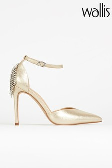 Wallos Clemetis Gold Jewel Back Ankle Strap Court Shoes