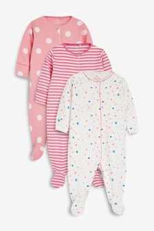 Stars And Stripe Sleepsuits Three Pack (0mths-2yrs)