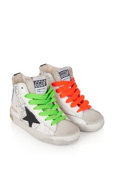 Kids White Leather & Suede Toe High Top Trainers