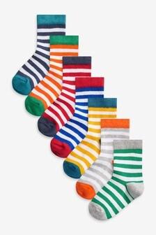 7 Pack Stripe Cotton Rich Socks