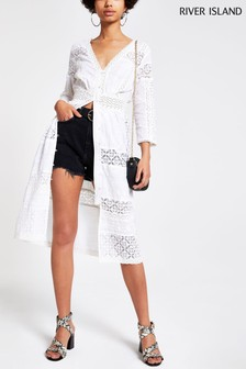 River Island White Embroidered Midi Dress