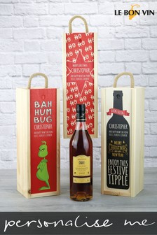 Personalised Cognac Wooden Gift Box by Le Bon Vin