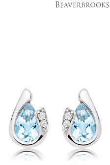 Beaverbrooks 9ct White Gold Diamond Aquamarine Stud Earrings