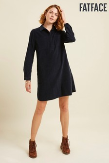 FatFace Blue Leanna Cord Shirt Dress