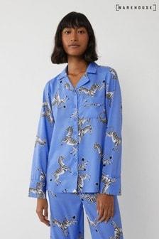 Warehouse Blue Zebra Pyjama Top