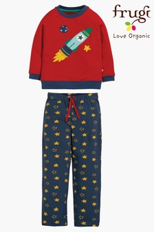 Frugi Organic Space Rocket Pyjamas With Star Print Bottoms