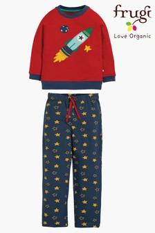 פיג'מה אורגנית של Frugi בהדפס טיל חלל עם מכנסיים בהדפס כוכבים