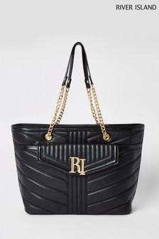 River Island Black Quilted Tote