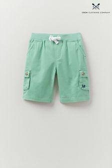 Crew Clothing Company Green Knitted Rib Waist Cargo Shorts