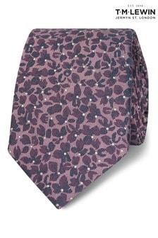T.M. Lewin Burgundy Camo Floral Silk Slim Tie