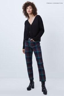 French Connection Riya Check Denim Hight Waist Mom Jeans