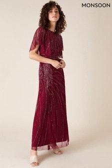 Monsoon Red Florence Embellished Flutter Sleeve Maxi Dress