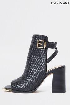 River Island Black Woven Shoe Boots