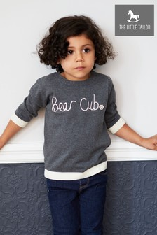 The Little Tailor Childrens Grey Charcoal Bear Cub Family Jumper