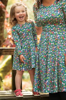 Frugi GOTS Organic Long Sleeve Skater Dress In A Floral Print