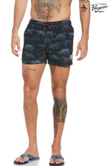 Original Penguin Blue Leopard Swim Shorts