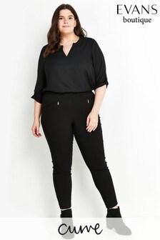 Evans Curve Regular Black Slim Trousers