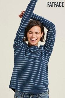 Tricou din bumbac organic cu dungi marinărești FatFace Tri albastru