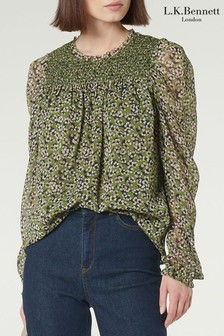 L.K. Bennett Green Getty Blouse