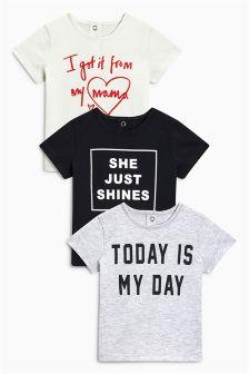 口号T恤三件装 (0个月-2岁)