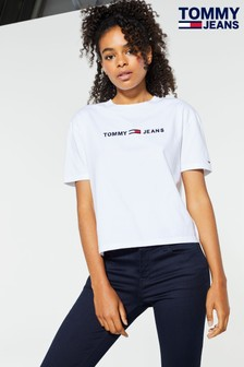 Tommy Jeans White Clean Linear Logo T-Shirt