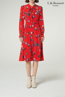 L.K.Bennett Red Mortimer Silk Tea Dress