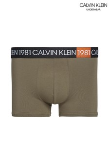 Calvin Klein Green 1981 Bold Cotton Trunks
