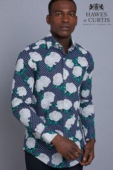 Hawes & Curtis Navy Floral Print Slim Fit Shirt