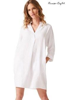 Phase Eight White Kathy Linen Dress
