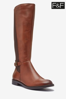 F&F Tan Leather Riding Boots