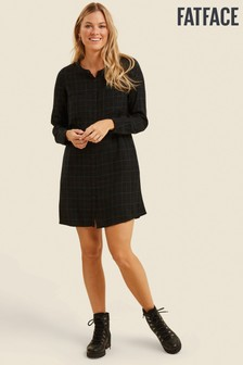 FatFace Black Lissy Check Shift Dress