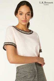 L.K.Bennett Black Adalyn T-Shirt With Tweed Trim