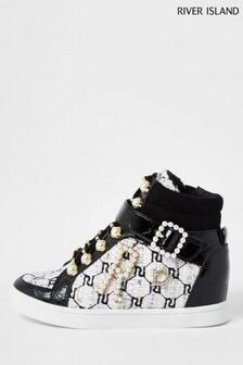 River Island Black Older Girl Bouclé Wedge Lace-Up Shoes